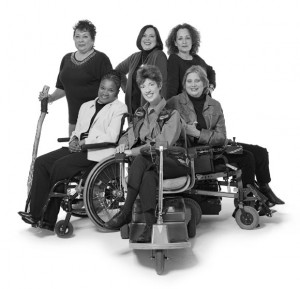 Group of 6 women with various types of mobility disabilities pose as the Right to Know group of women who have battled breast cancer and won. They inspire all woman specifically those with disabilties to seek mammography screenings for early breast cancer diagnoses.